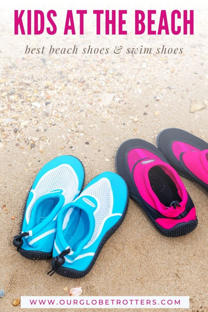kids water shoes on the beach