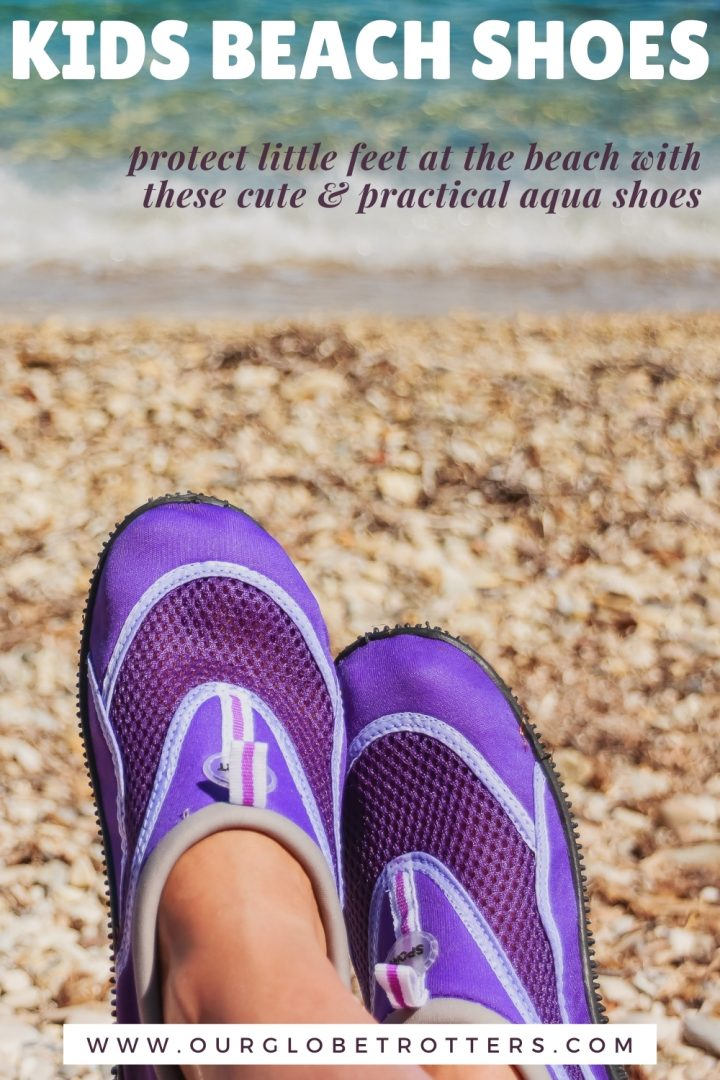 purple beach shoes on a rocky beach - best kids beach shoes
