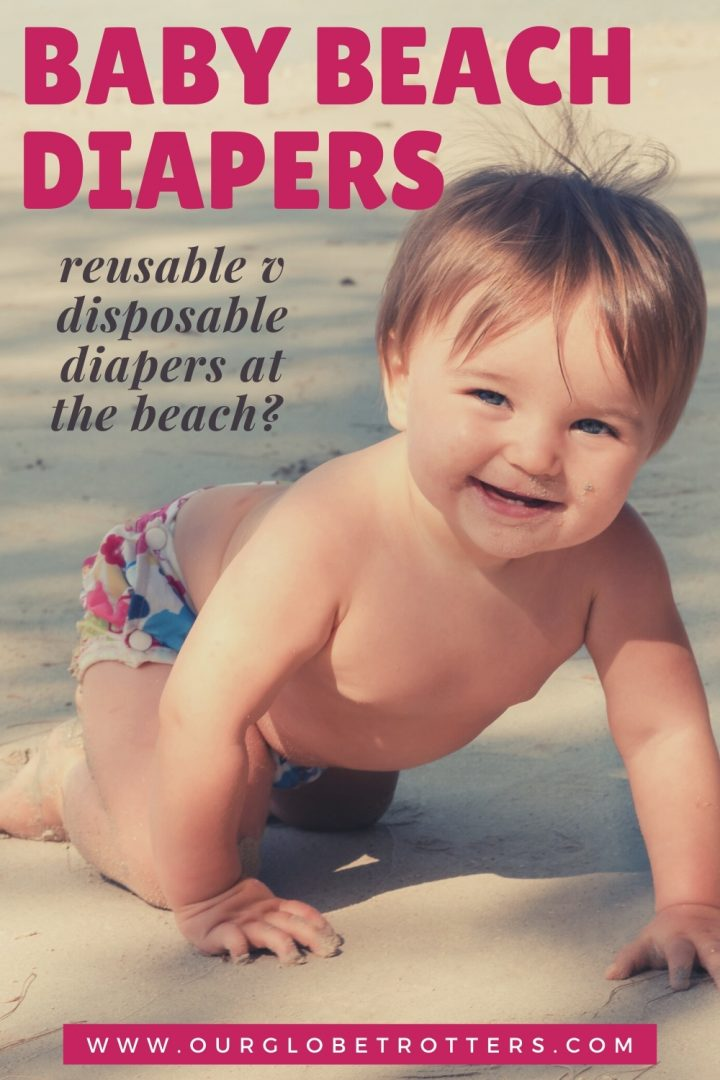 Cute baby crawling on the beach in a diaper caption baby beach diapers