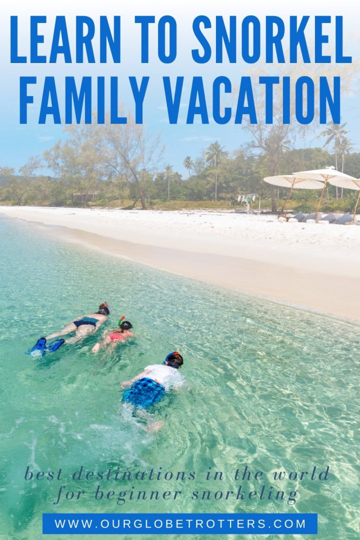 family snorkeling close to a beautiful beach caption learn to snorkel family vacation