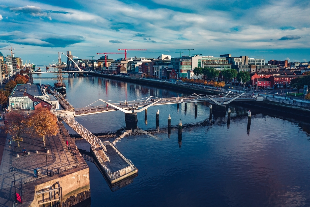 Overhead with of Dubli and River Liffey