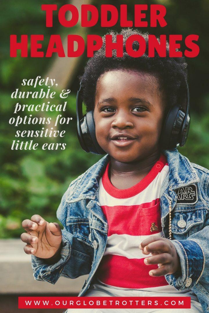 african american toddler wearing a pair of black headphones