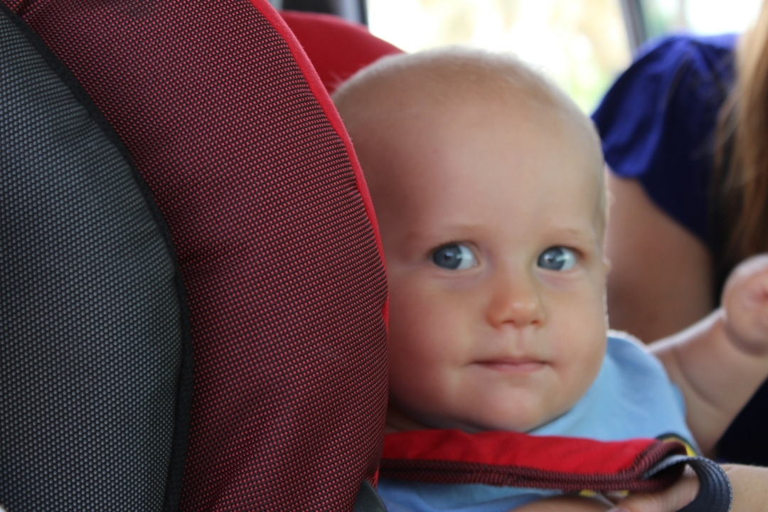 baby in car seat- road trip tips with a baby