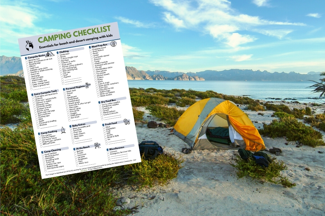 Desert and beach camping packing list for families - a checklist next to a tent on the beach