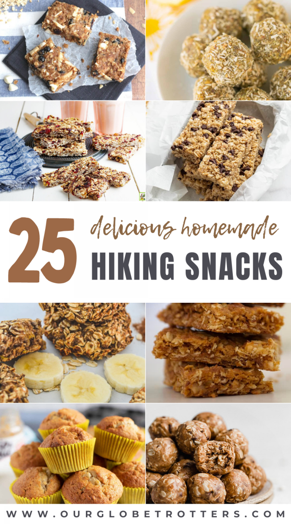 Collection of homemade snacks perfect for hiking trips