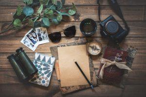 Unsplash flatlay of travel photography gear