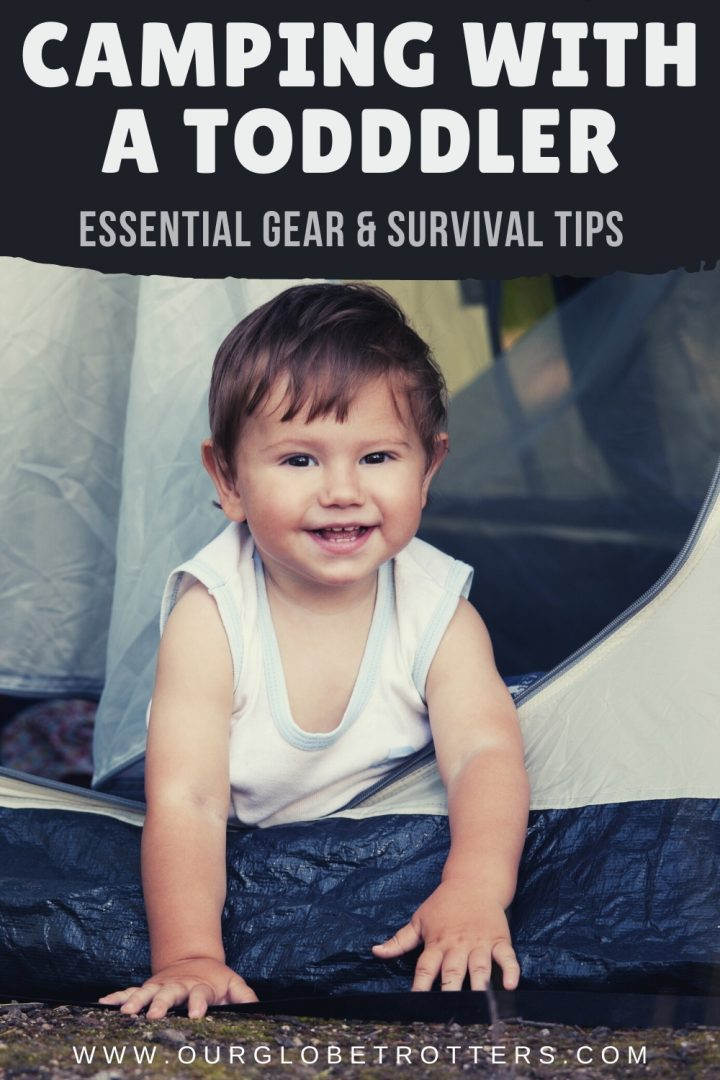 Camping with a toddler - small boy crawling out of a tent