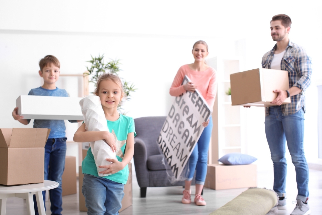 family moving furniture