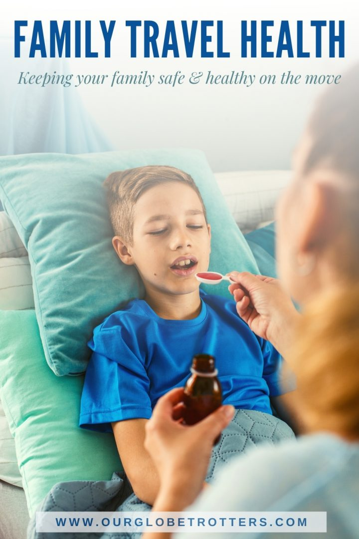 Child in a bed being given a spoonful of medicine. Caption Family Travel health