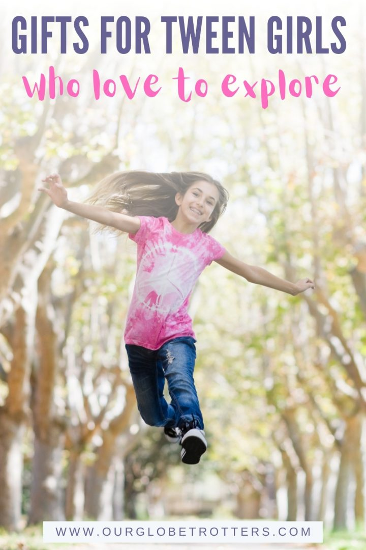 Tween girl jumping for joy - Gifts for tween girls who love to explore