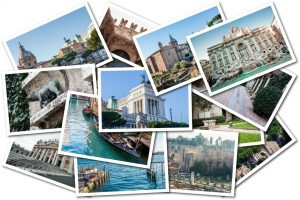 Collection of travel photos in a collage