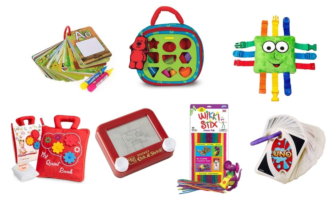 Selection of travel toys for children of all ages