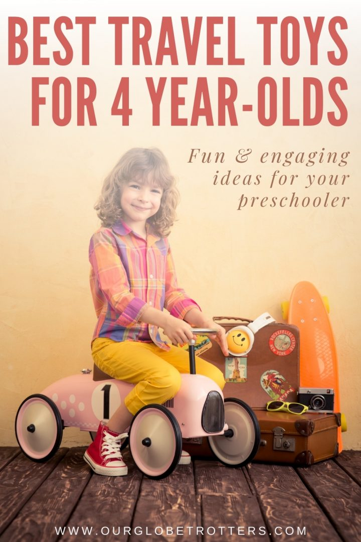 Trael toys for 4 years olds - a 4 year old girl sitting on a ride on car ready to travel