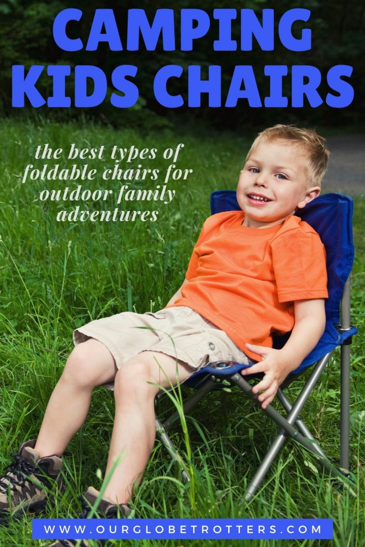 young boy sitting on a blue camping chair - caption camping chairs for kids