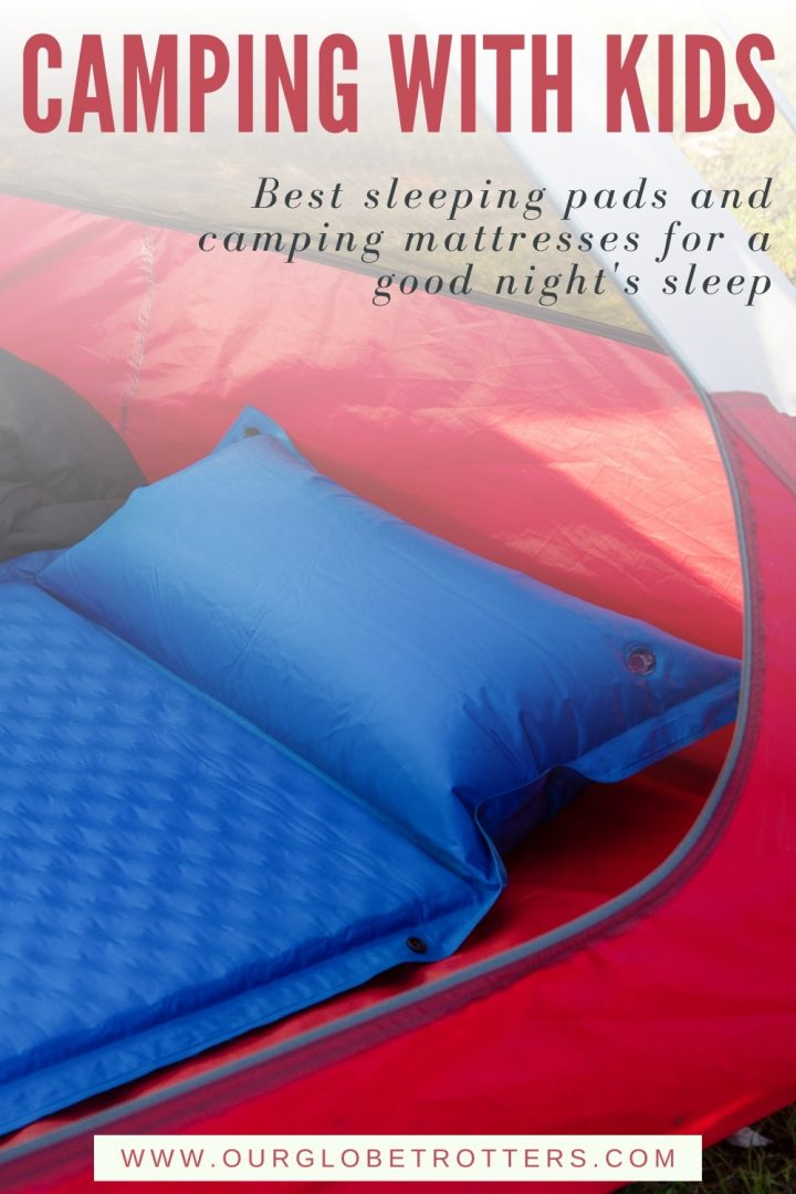 air mattress in a tent - text camping with kids