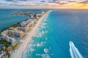 Beach resorts in Cancun, aerial photo