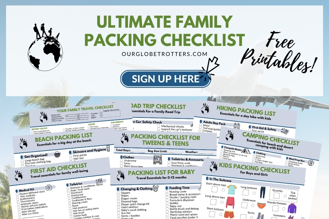 Ultimate Family Vacation checklist - collage of checklist images for planning a family vaation