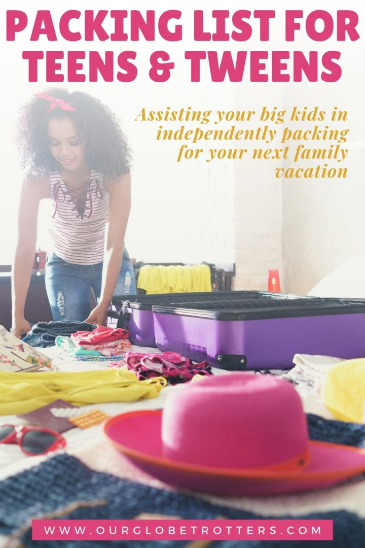 teen girl packing her suitcase on a bed- text caption packing list for teens and tweens