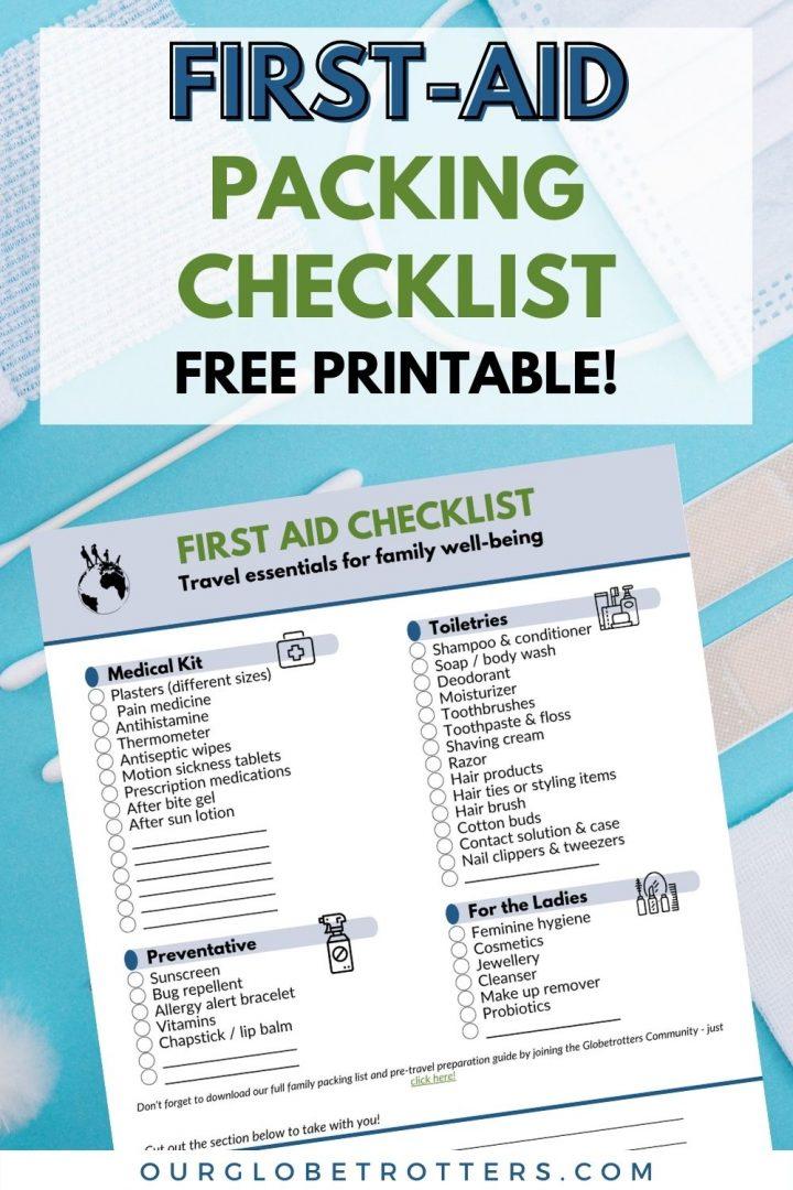 Printable Checklist - First Aid 1