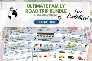 a collage of road trip printables for signing up to receive a road trips bundle for family vacations