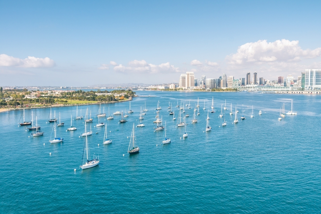 Picturesque view of San Diego over the water - Best places to visit in August