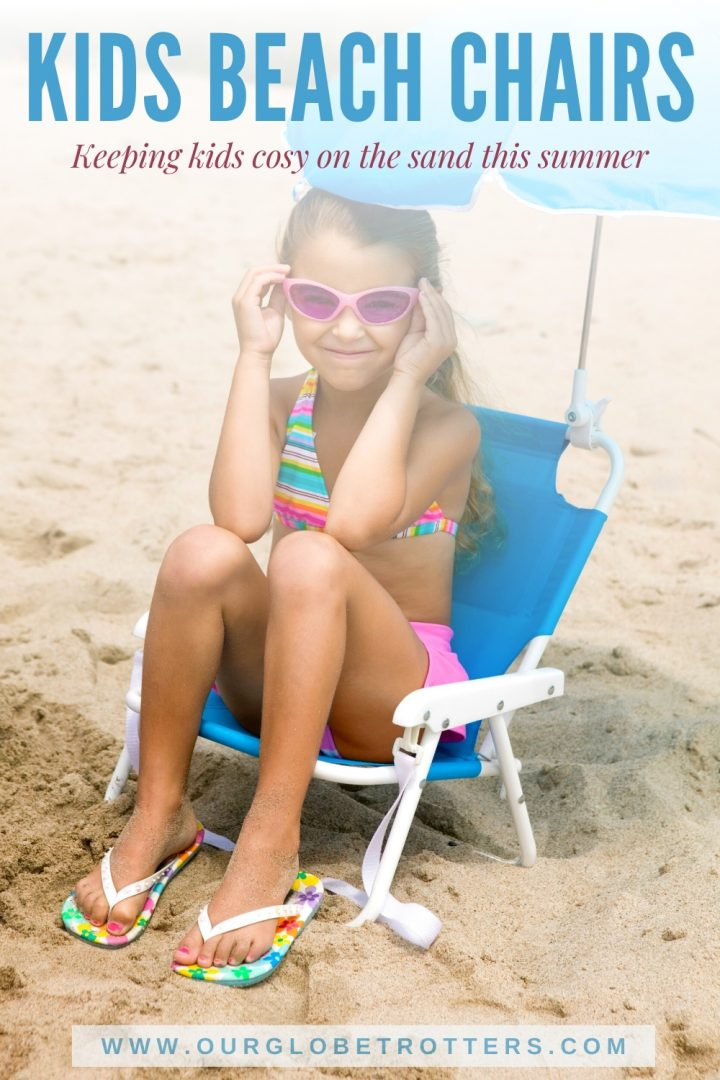 Kids Beach chairs - cure girl with sunglasses sitting on a beach shair with umbrella especially made for kids