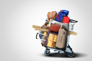 trolley packed with luggage