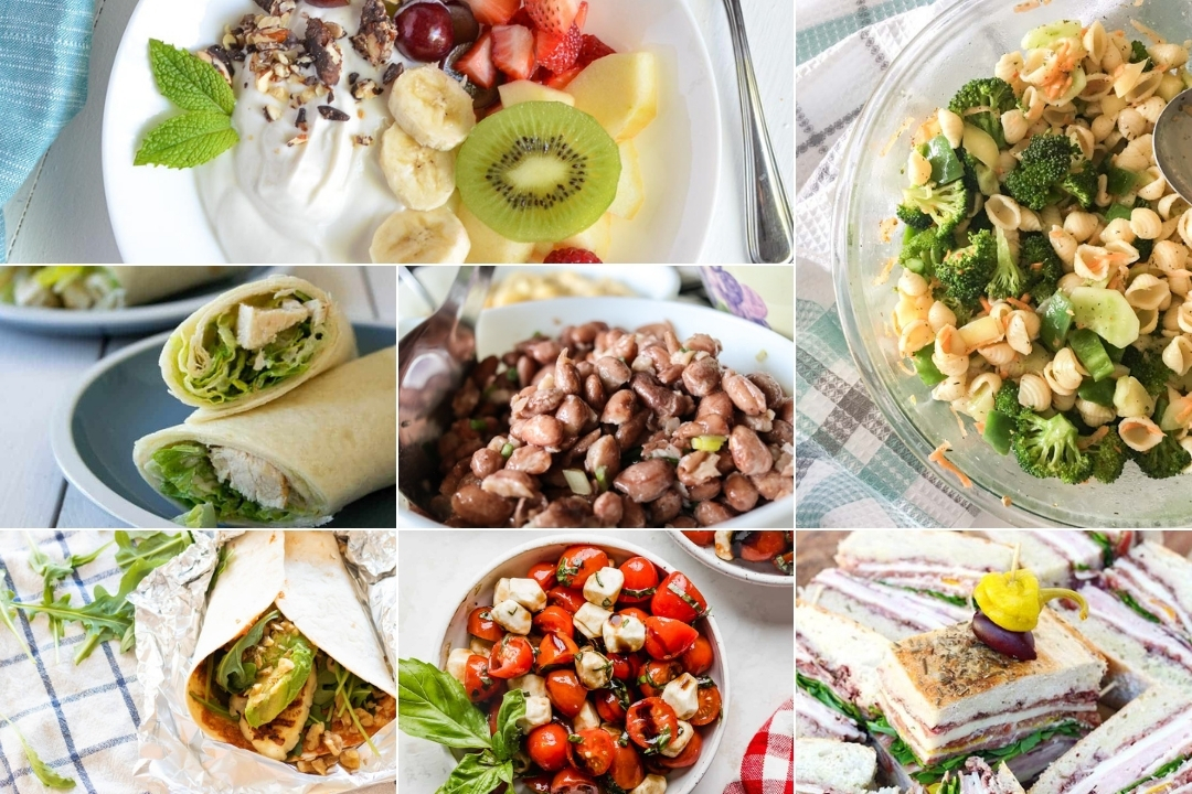 collage of slads and wraps - no cook camping meals to try