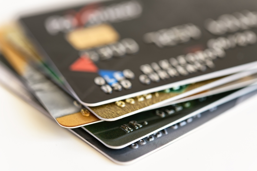 Stack of credit cards - go cashless when you travel