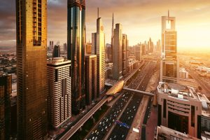 Sheikh Zayed Road through the centre of Downtown Dubai at sunset