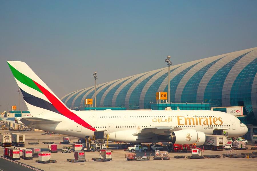 Emirates aircraft parked at Dubai Airport
