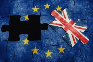 EU Map in jigsaw puzzle with the UK flag taken out