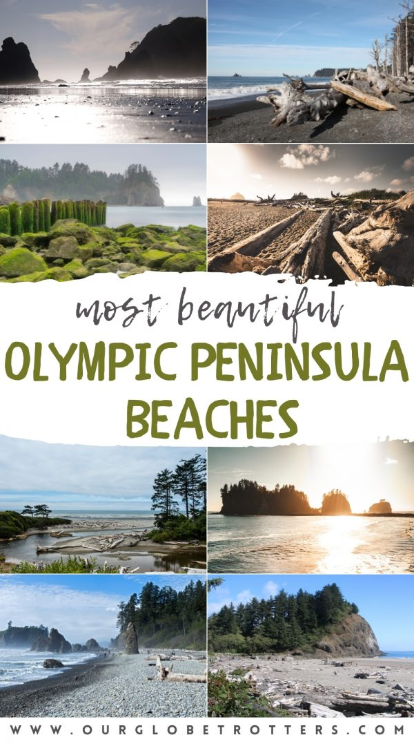 collage of beachesfrom the Olympic National Park washington