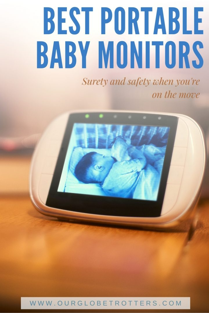 Baby lying asleep in a crib seen through a baby video minotr: Text overly best portable baby monitor