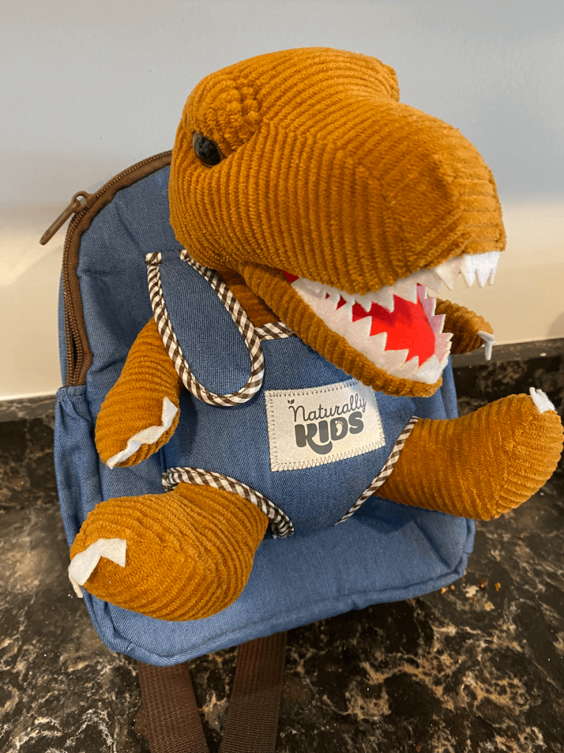dinosaur teddy strapped in ready for use in its denim backpack from anturally kids