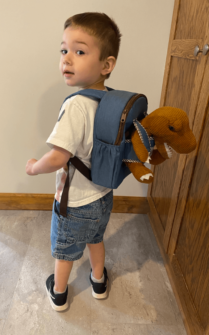 The naturally kids dinosaur backpack in use with the dinosaur teddy strapped in