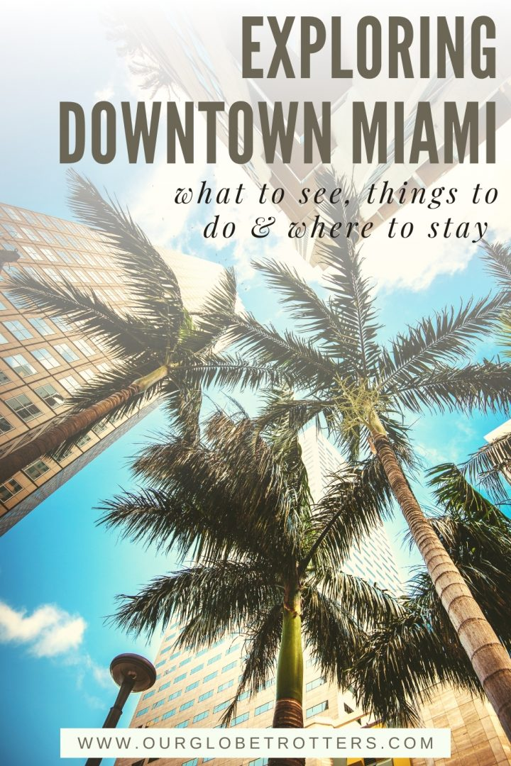 Palm trees and high rises in downtown Miami