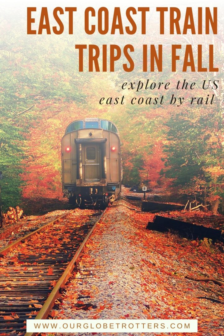 train on tracks covered in fall leaves