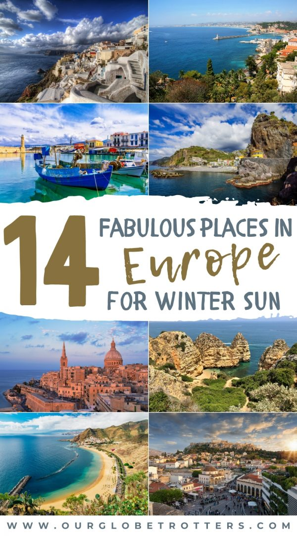 A collage of towns and places in europe that are sunny in the European Winter