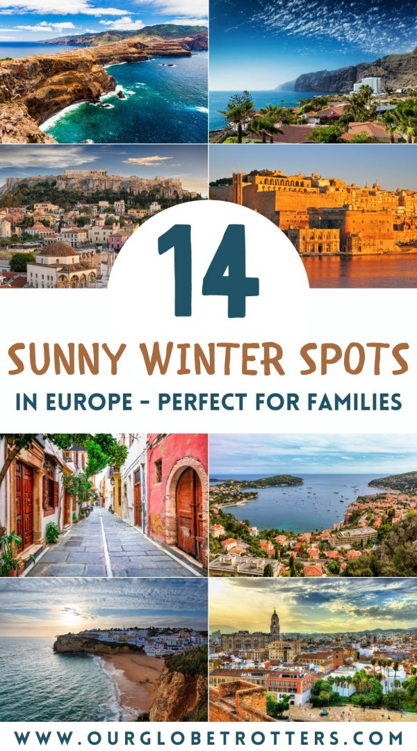 A collage of pretty towns and beaches in Europe that are sunny in winter