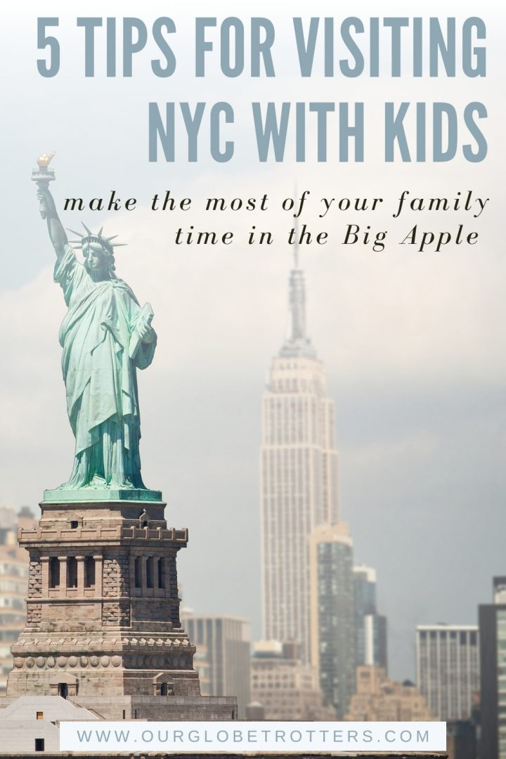 Statue of Liberty with New York skyline text overlay 5 Tips for Visiting NYC with kids