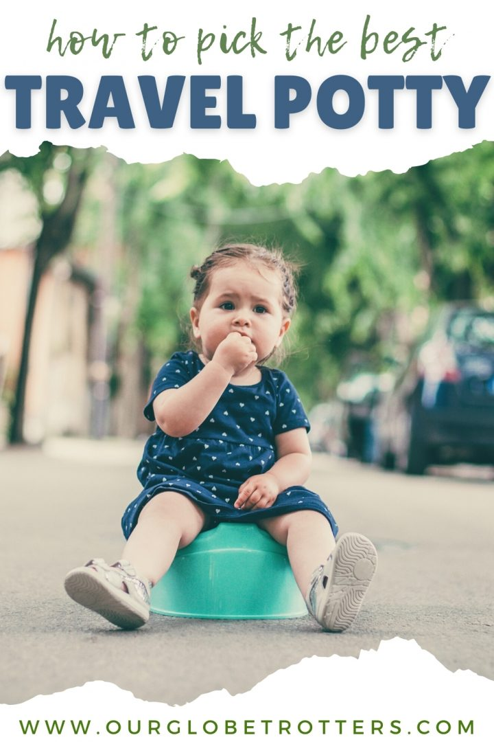 Little girl sitting on a potty in the middle of the street - text overlay travel potty