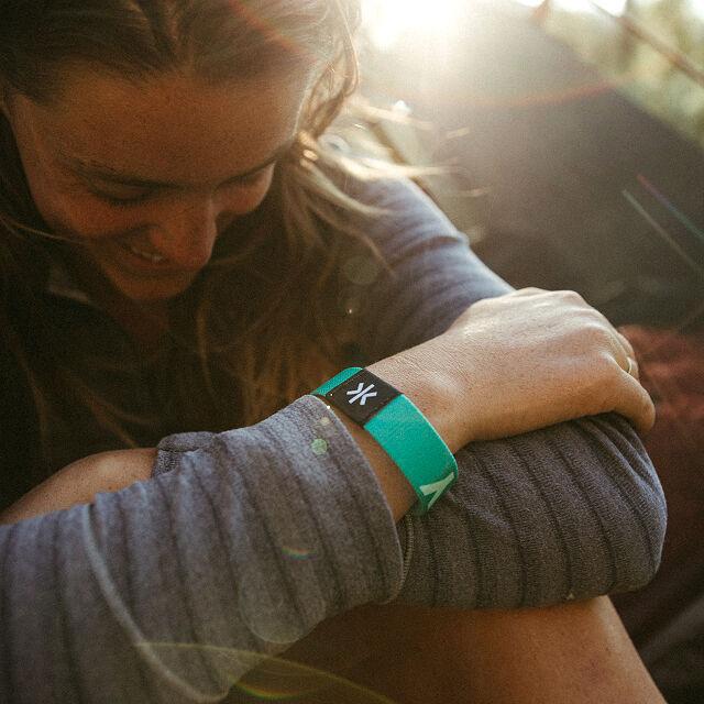 A safety wrist band on aldies wrist