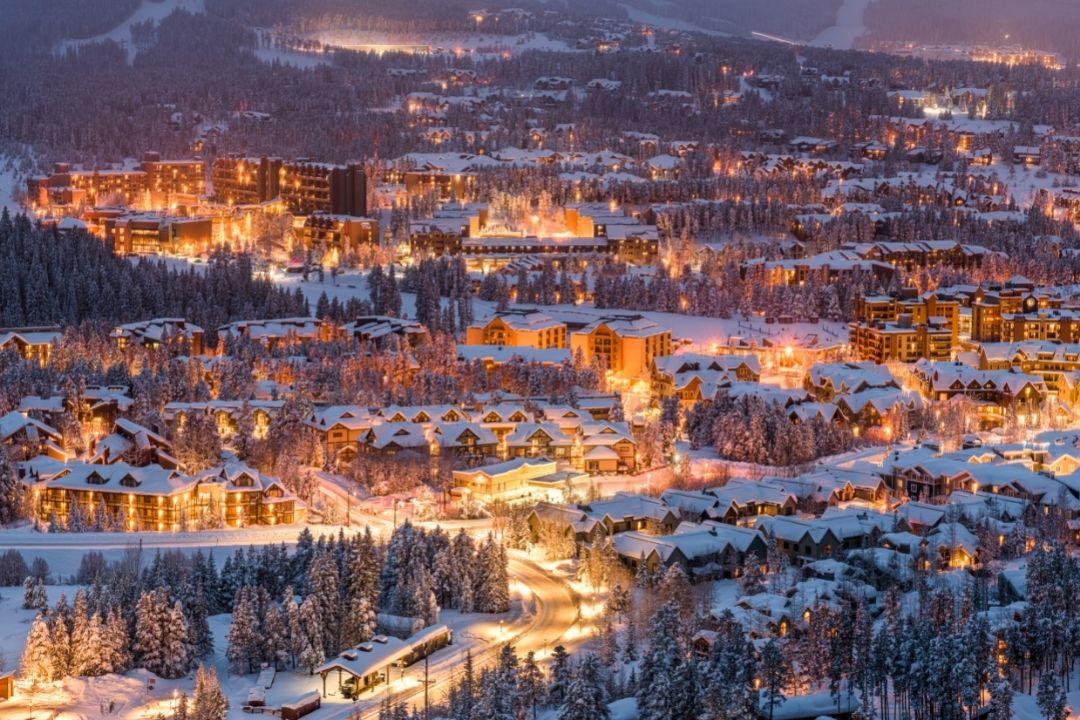 Breckenridge Colorado lit up at night