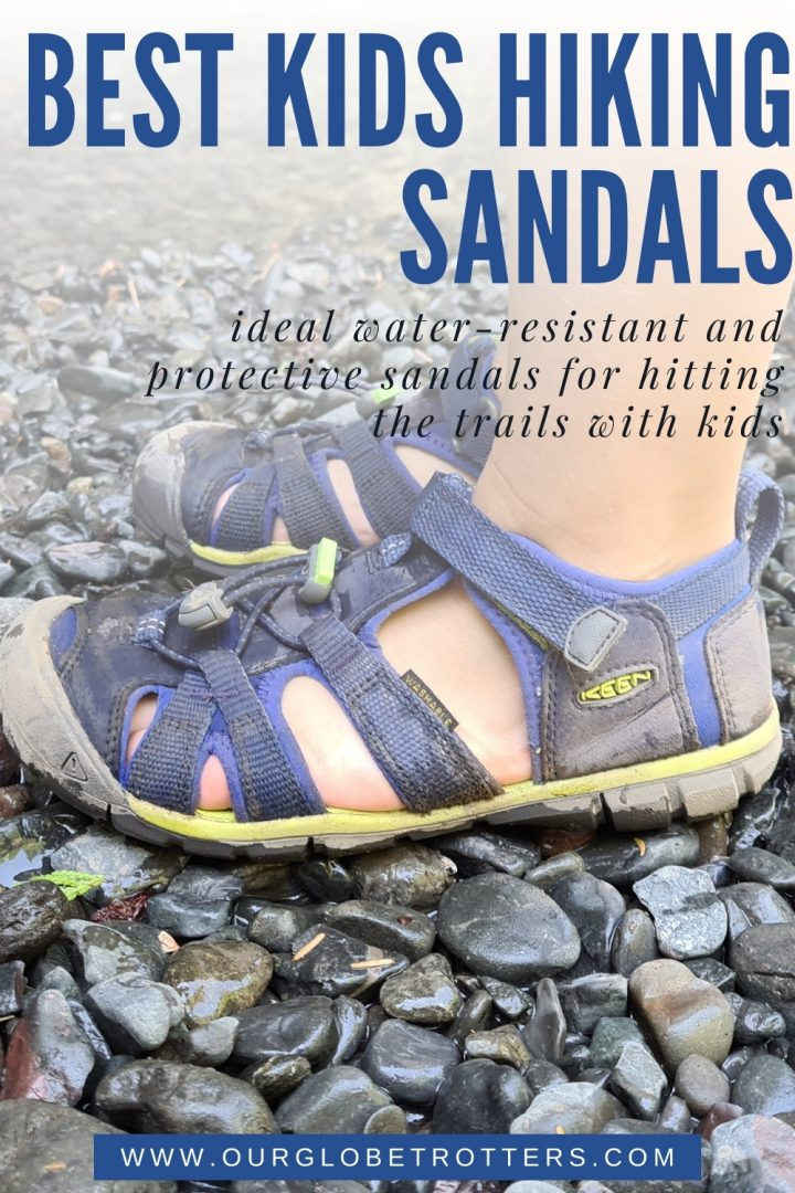 a close of a childs muddy hiking sandals - best kids hiking sandals